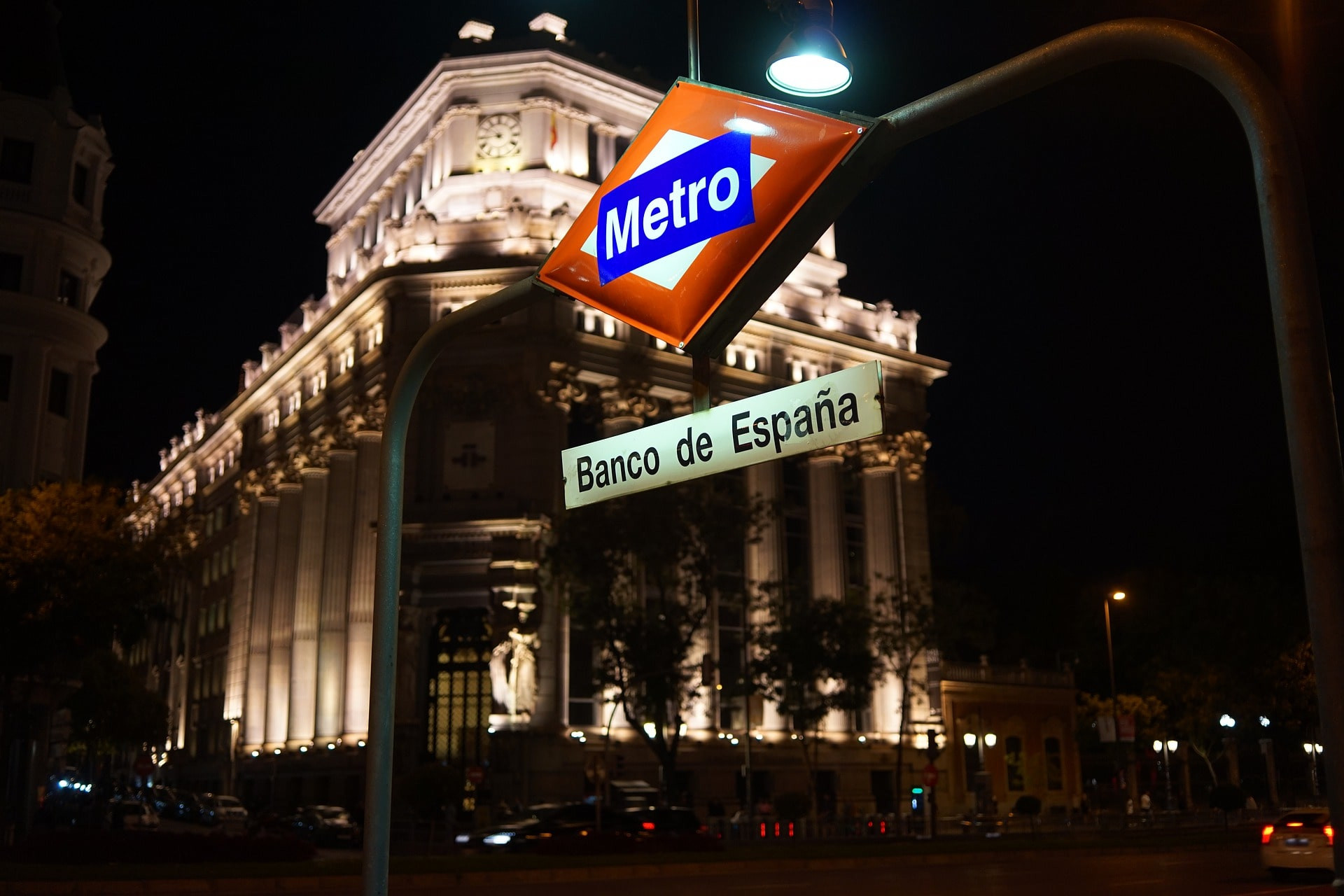 The entrance of a subway station in Madrid