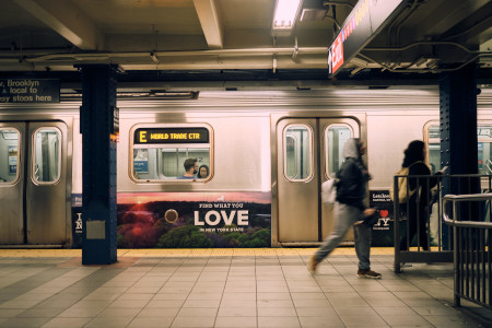 People getting around in a subway platform in New York City