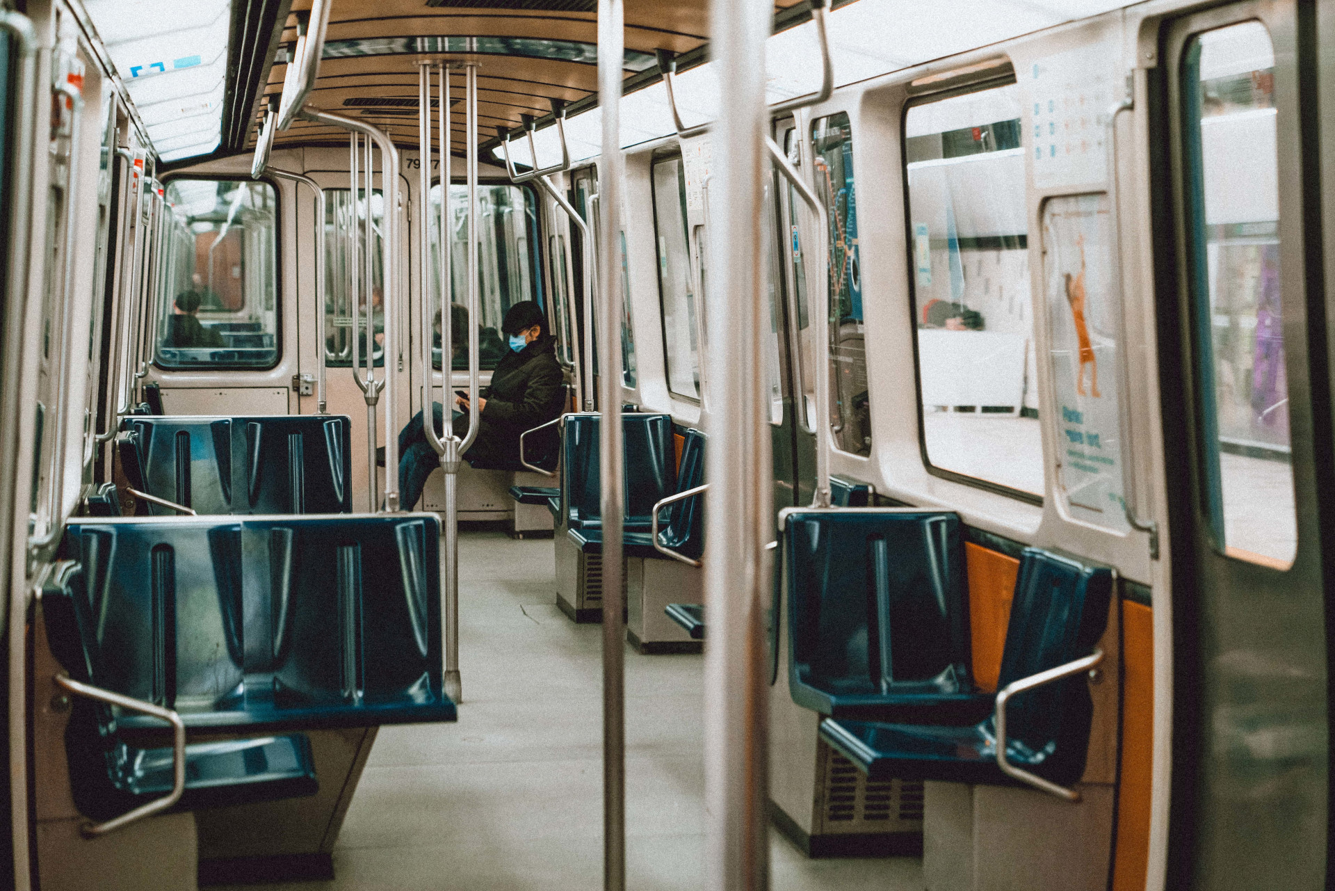 Inside a metro wagon