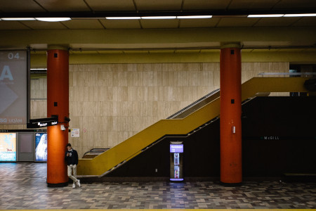Inside the Montreal metro where we can see elevators for PRM